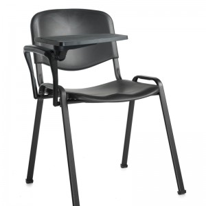 Taurus Plastic Black Frame Stacking Chair with Writing Tablet