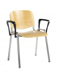 Taurus Wooden Chair Chrome Frame Stacking Chair with Fixed Arms