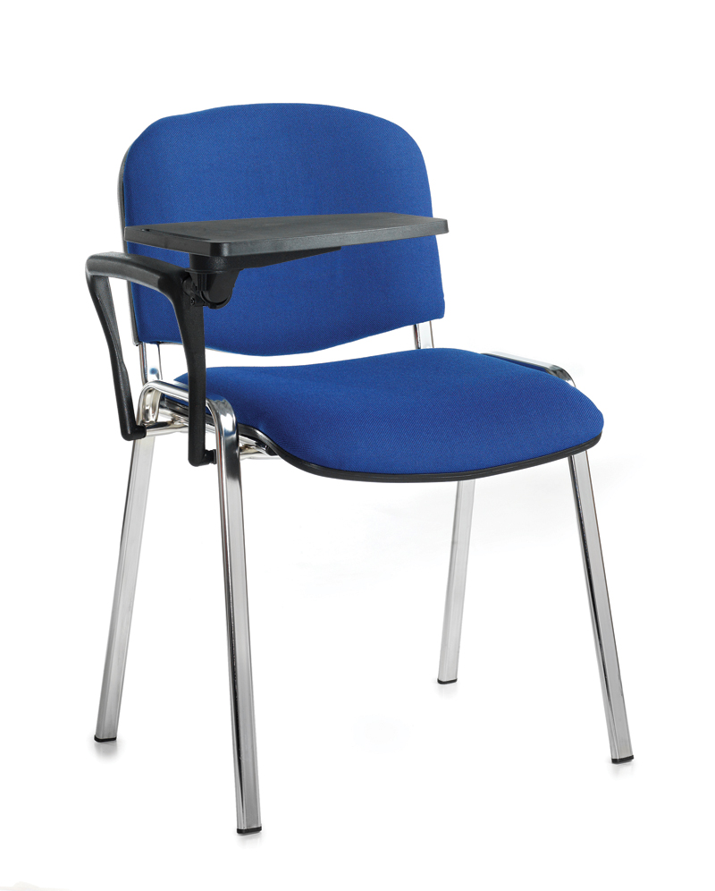 taurus chrome frame stacking chair with writing tablet office