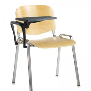 Taurus Wooden Chair Chrome Frame Stacking Chair with Writing Tablet