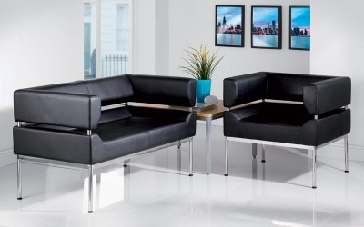 Benotto 1 seat Black Faux leather Curved frame Sofa