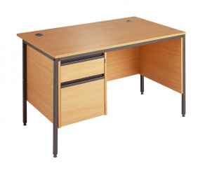 Straight H frame desk - 2 drawer fixed pedestal-Modesty panel