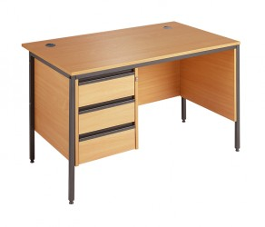Straight H frame desk - 3 drawer fixed pedestal-Modesty panel