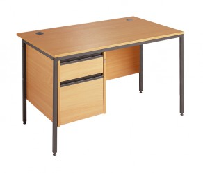 Straight H frame desk - 2 drawer fixed pedestal