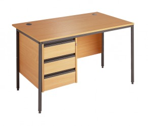 Straight H frame desk - 3 drawer fixed pedestal