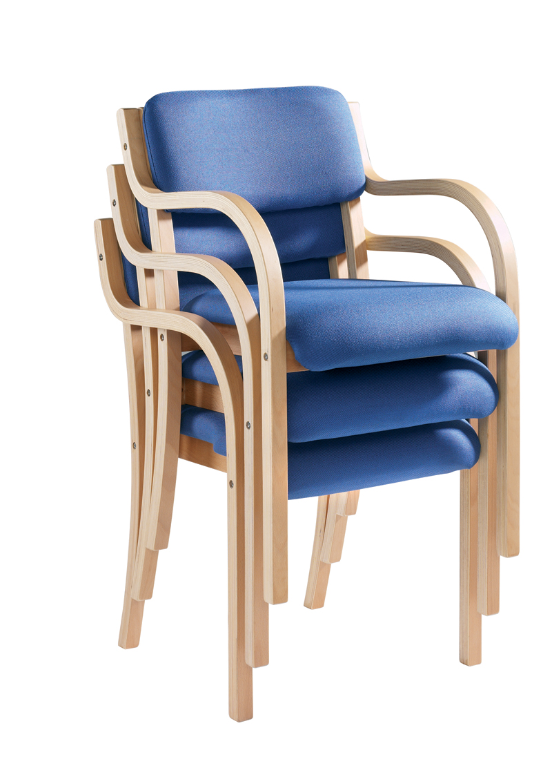 Prague Wood Frame Stack Chair With Arms